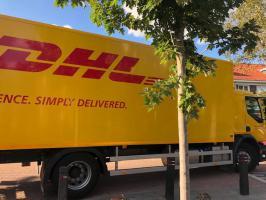 Vrachtwagen bij Pelgrimsweg